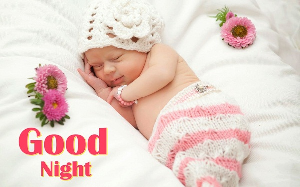 Sweet Good Night Baby Images with Flowers