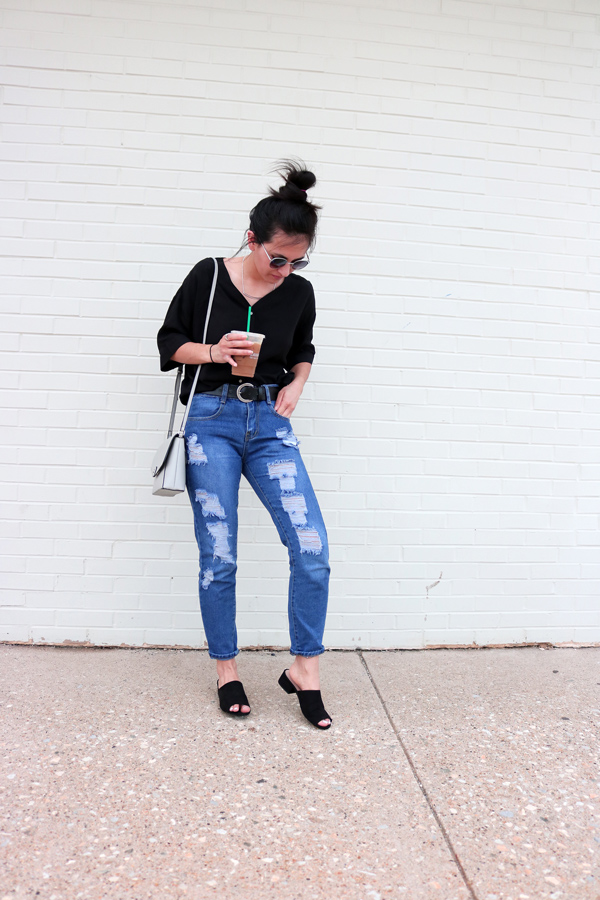 ripped blue jeans, black shirt, black mules, spring, style, outfit