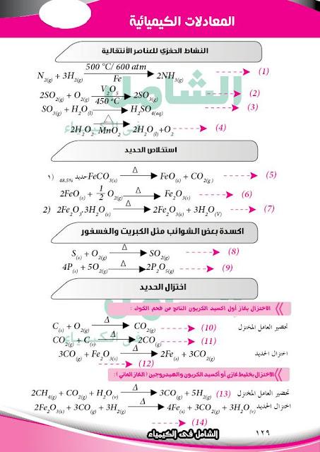 معادلات منهج الكيمياء بالكامل للصف الثالث الثانوي 2018