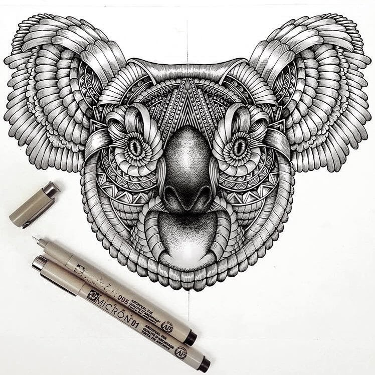 09-Koala-Faye-Halliday-Animals-with-Zentangle-Detailing-www-designstack-co