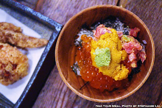 U&I: Uni, Spicy Maguro, Ikura, Sushi Rice, Sesame, Roasted Nori, and Wasabi at Mu Ramen