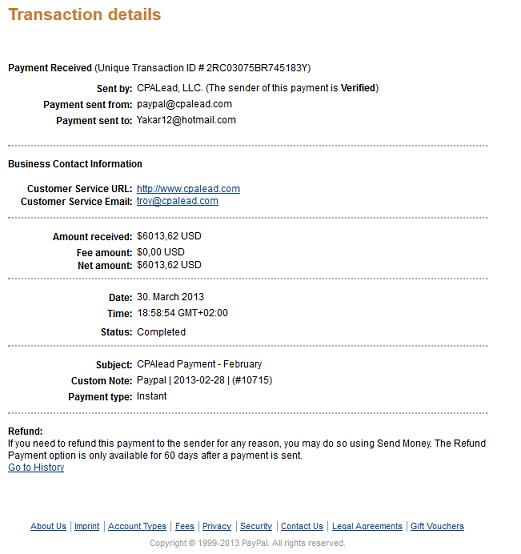 contoh SS payment dari CPA Lead