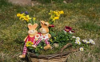 Conigli con cesto di fiori