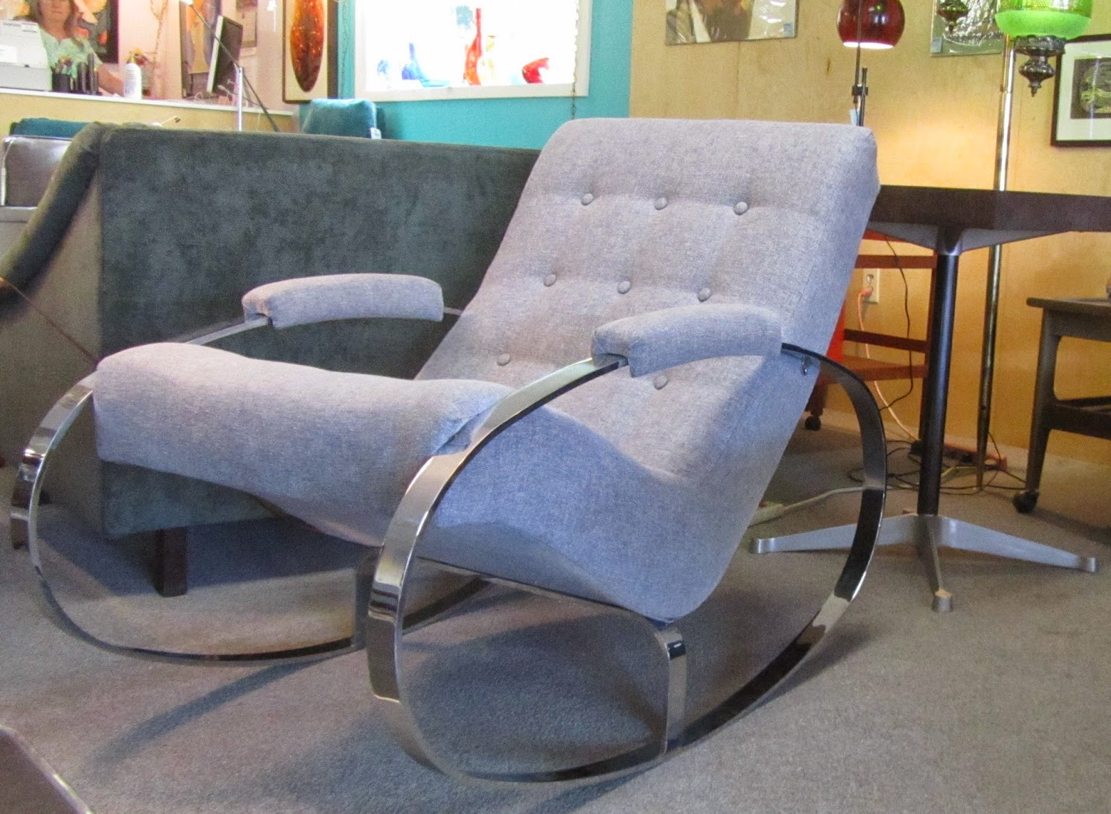 Custom Rocking Chairs Texas Back Support Remnant Upholstered Chrome Chair