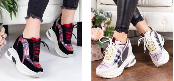 Sneakersi dama negri, albi cu imprimeuri moderni