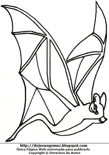 Dibujo de un murciélago para colorear, pintar e imprimir hecho para niños. Dibujo del Murciélago de Jesus Gómez