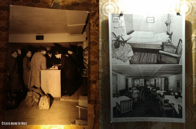 fotos de la recepción, habitación y salón del hotel bunker de Stuttgart