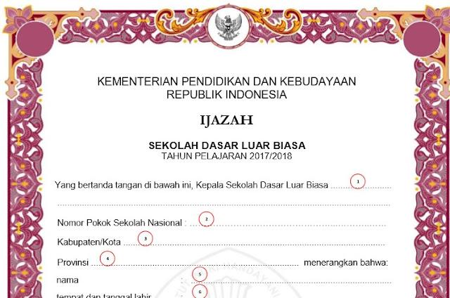 Juknis Pengisian Blangko Ijazah Tahun 2018