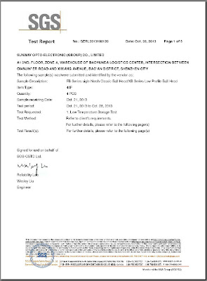 SGS Low Temp Certificate for Sunwayfoto FB and XB series page 1