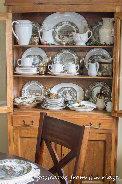 vintage oak hutch with brown transferware