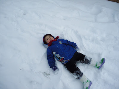 Big Boy making Snow Angels