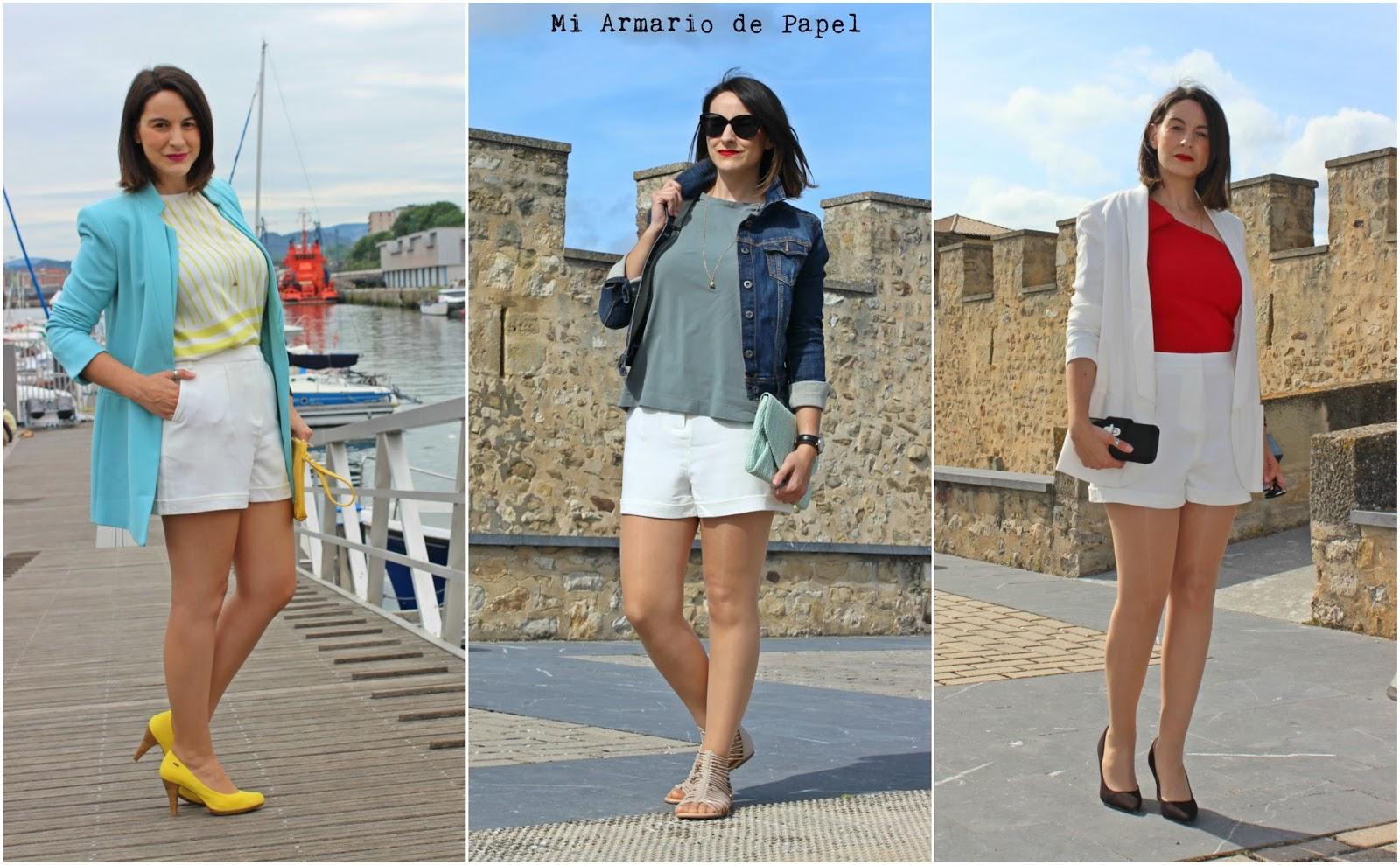 b6d8cdb8fd Aquí van las tres combinaciones que os he propuesto para vestir unos shorts  blancos
