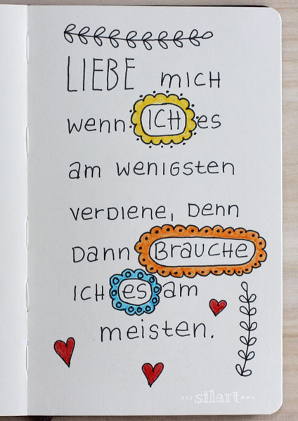Sketchbook Lettering, Liebe mich