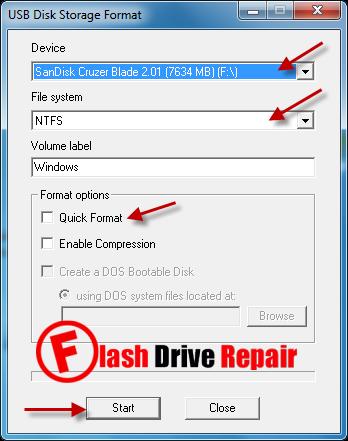 Repair USB Pendrive with Generic USB Format tool - Flash