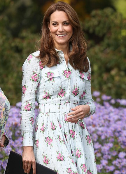 Kate Middleton wore Emilia Wickstead Aurora belted floral-print Swiss-dot cotton-blend seersucker dress and Monsoon fleur wedges