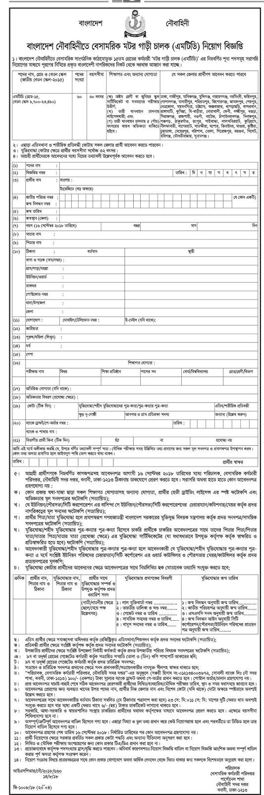 Bangladesh Navy Civilian Motor Driver (MTD) Job Circular 2018