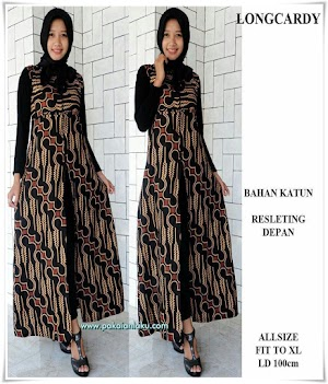Batik Long Cardy Resleting Depan