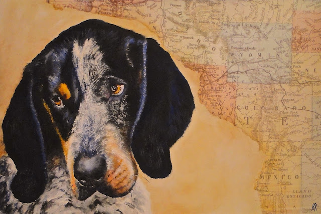 American Bluetick Coonhound, oil painting