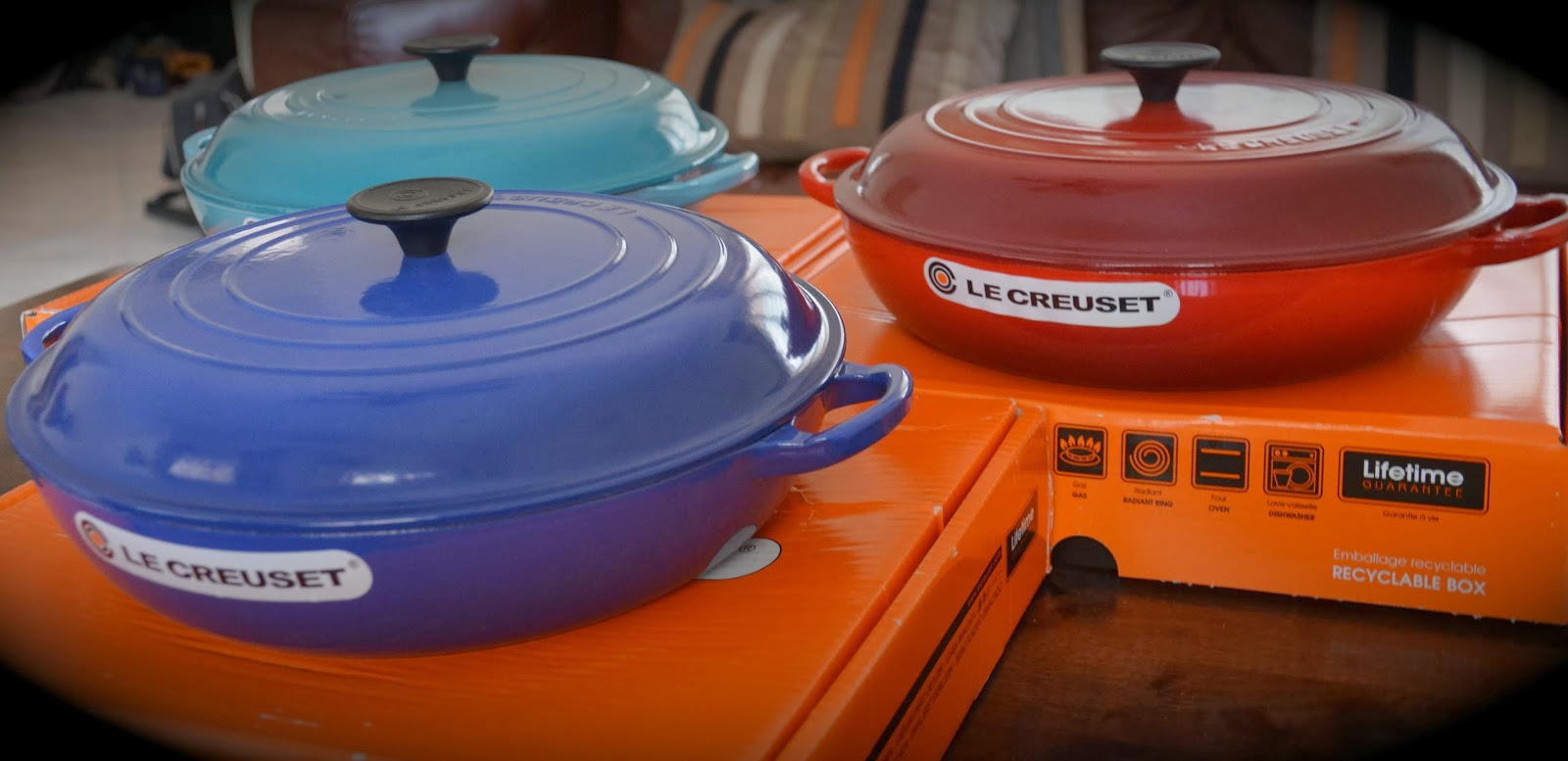 Kitch N Chic Le Creuset Cast Iron 30cm Shallow Casserole Buffet Casserole Cerise Teal And Graded Blue