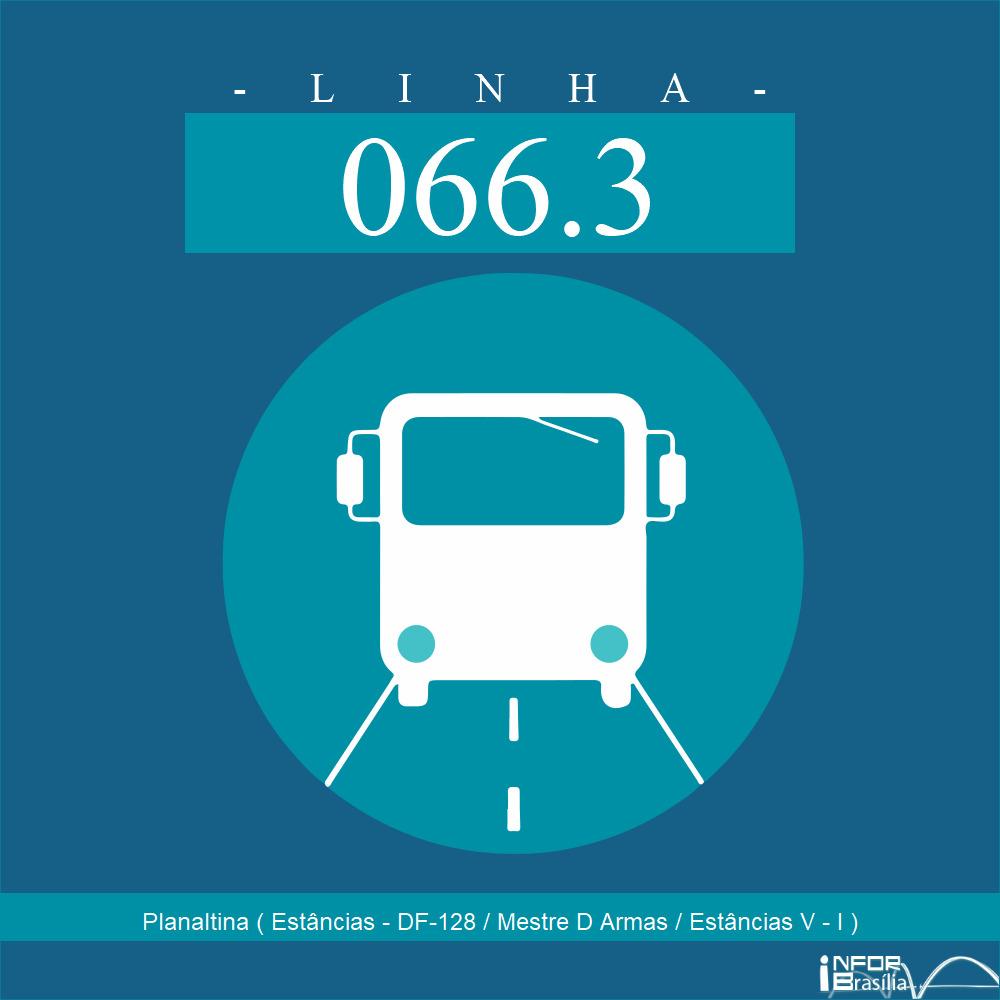 Horário de ônibus e itinerário 066.3 - Planaltina ( Estâncias - DF-128 / Mestre D Armas / Estâncias V - I )