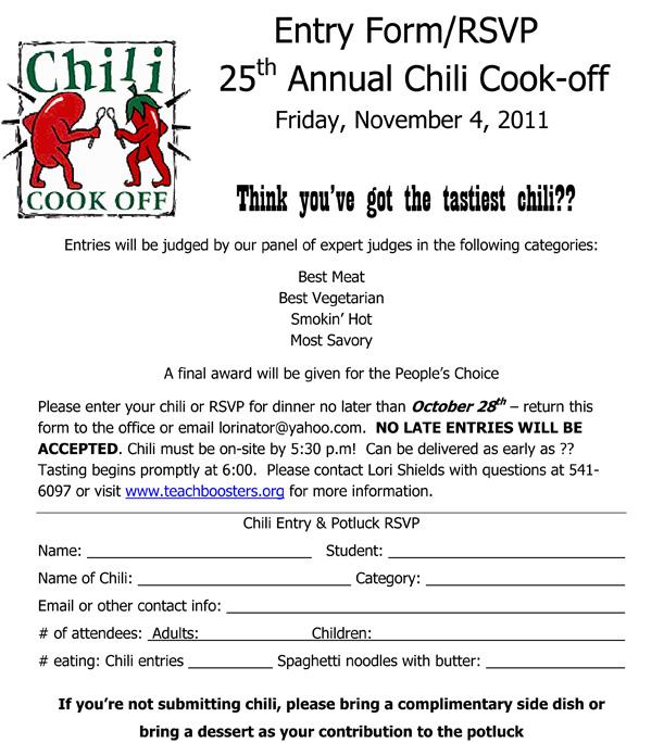 Charles E. Teach Booster Club: Chili Cookoff November 4, 2011