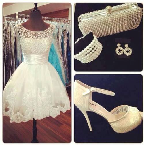 Vestido de Boda de Encaje Elegante y Moderno corto, zapatos, bolso, pulsera y aretes