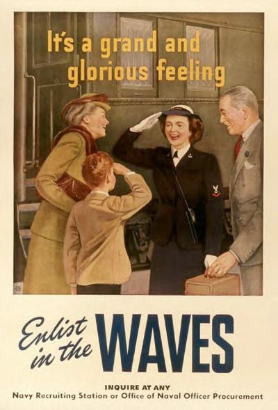 Navy Recruitment Ad for WAVES during WWII showing boy saluting WAVE officer