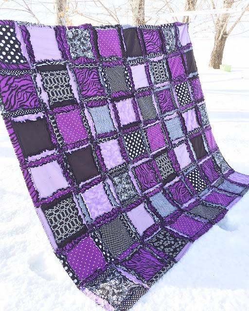 Zebra Girl Bedding Rag Quilt for Twin, Full/Double, Queen ...