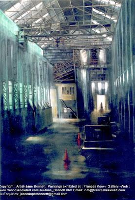 oil painting of Turbine Hall  Cockatoo Island  by artist Jane Bennett