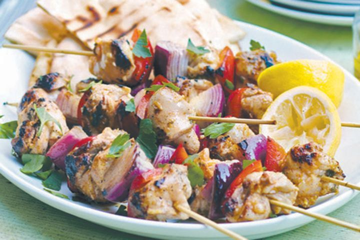 enjoy the warmer weather and serve up this delicious chicken meal that is fast and easy t Lemon and garlic chicken kebabs recipe