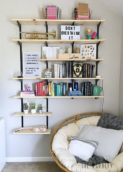 How to hang and style wall book shelves in teen girl room