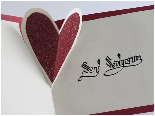 hediye kalpli kart
