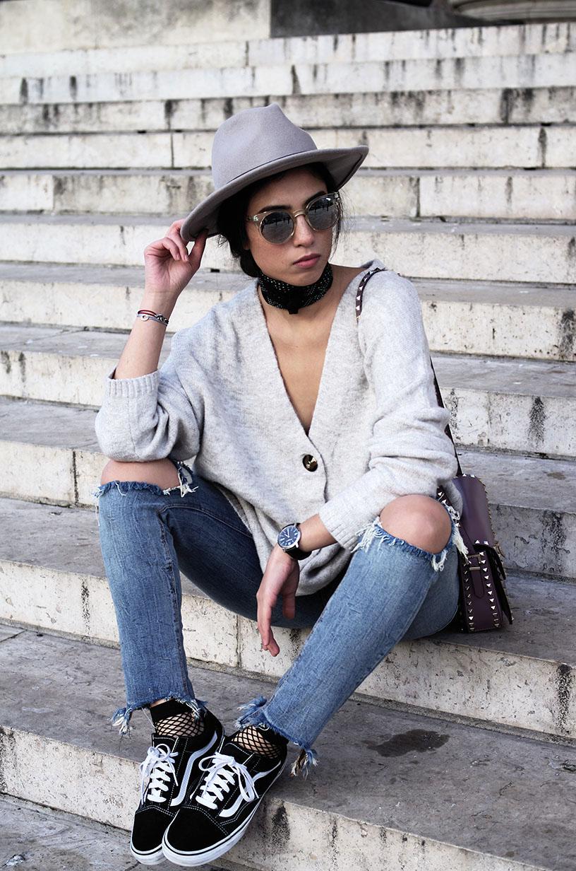 Elizabeth l oversize knit sweater denim l Zara Valentino Vans Old Skool l THEDEETSONE l http://thedeetsone.blogspot.fr