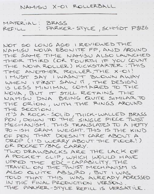 Namisu X-01 pen review