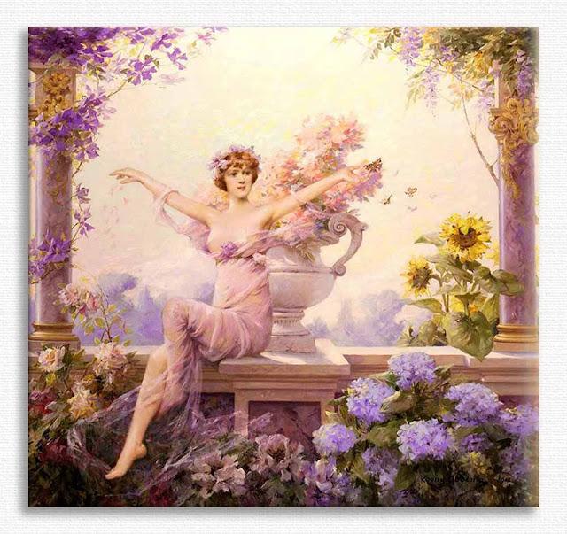 Louise Abbema,  Çiçeklik tablosu