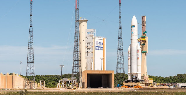 Ariane 5 approaches the ELA-3 launch zone in Kourou, French Guiana. Photo Credit: Arianespace
