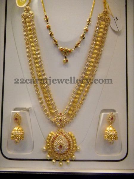 Cz Floral Kasu Mala With Earrings Jewellery Designs