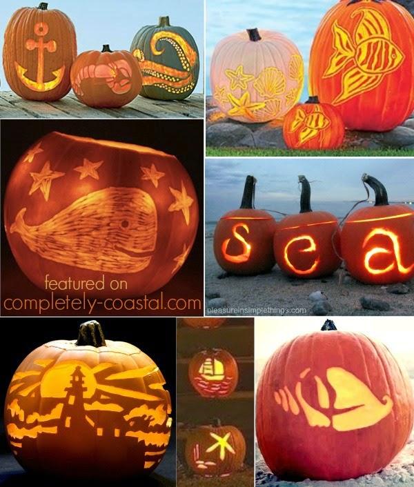 Beach, Nautical & Coastal Pumpkins For Fall & Halloween