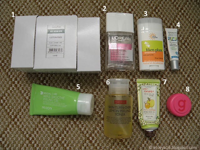 Innisfree, L'oreal, Earth Science, Andalou Naturals, Mizon, Purederm, Enesti, Gatsby