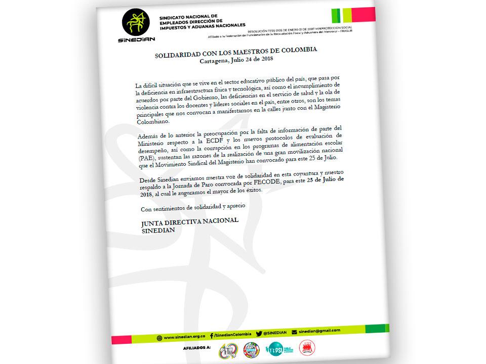 SOLIDARIDAD CON LOS MAESTROS DE COLOMBIA