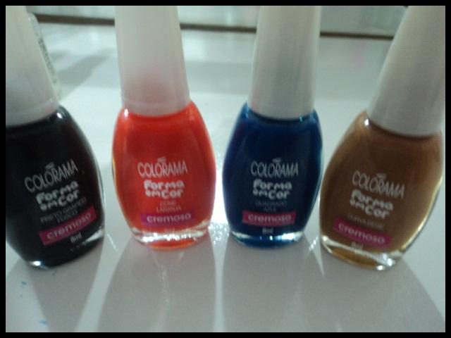 esmalte; esmalte colorama; esmalte colorido; esmalte da coleção forma em cor; coleção forma em cor; esmalte preto fosco; esmalte laranja; esmalte azul; esmalte cor camelo