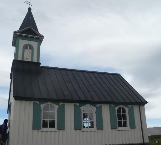 la chiesa nel  Parco Nazionale di Þingvellir