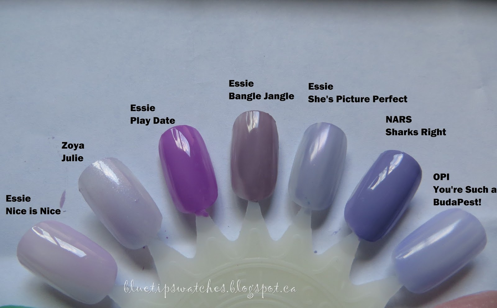 Blue Tip Swatches: Comparisons: For NARS Sharks Right with other Purples