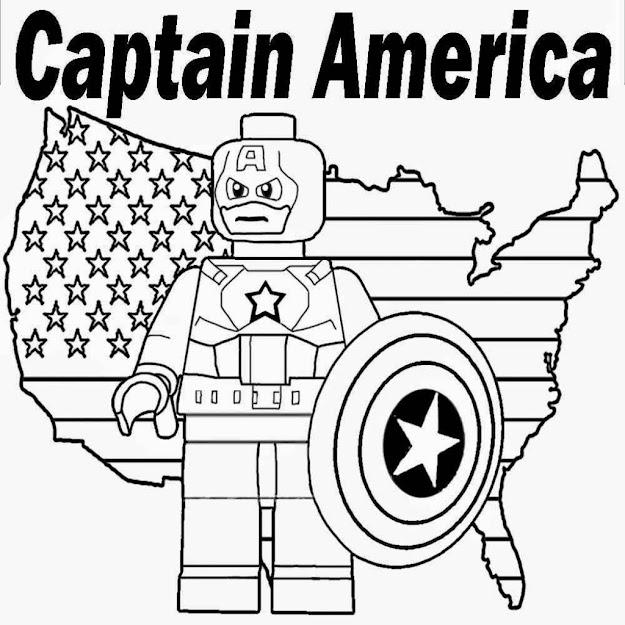 Printable Lego Marvel Superheroes Captain America Coloring Sheet
