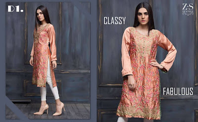 ZS textile areeba saleem exclusive kurti collection 2017