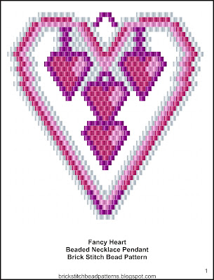 Free brick stitch seed bead pendant pattern color chart.