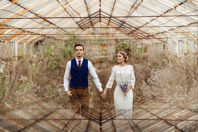 Stylowa sesja ślubna w oranżerii