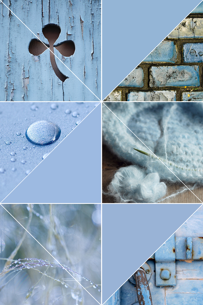 Pantone fall winter color trend, pale blue, pastel, photography, knitting, nature, moldboard, collage