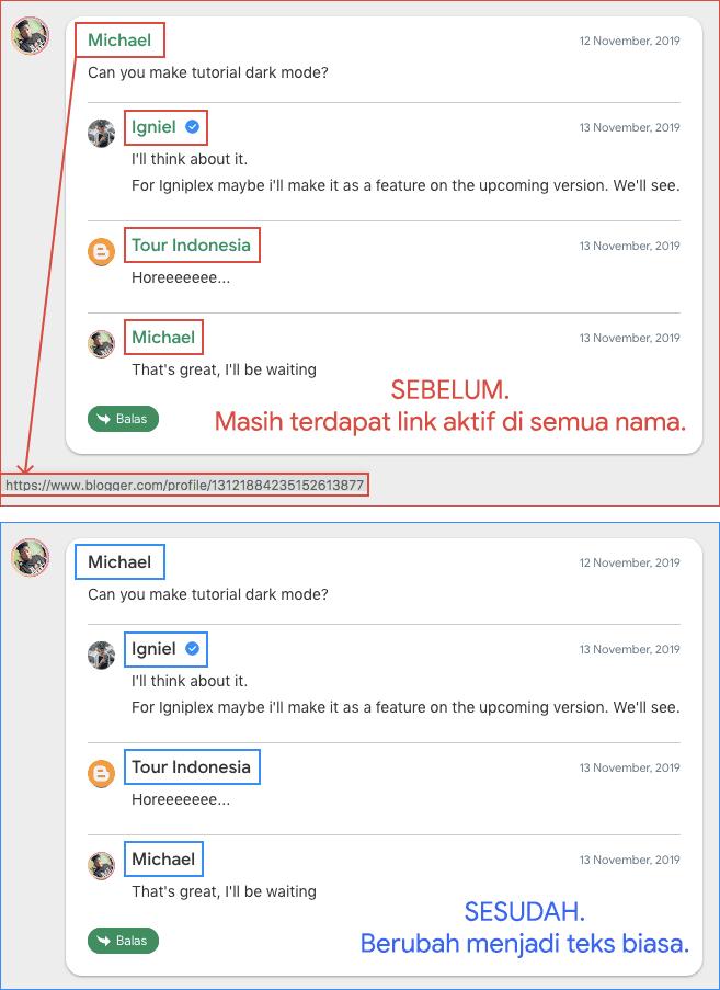 Script Untuk Menonaktifkan URL Author di Komentar Blogger