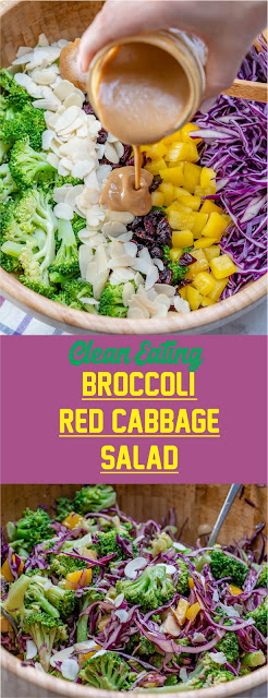 Clean Eating Broccoli And Red Cabbage Salad